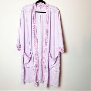 Free People Lavender Eyelet Trim Kimono Robe M